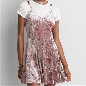 American Eagle Crushed Velvet Slip Babydoll Dress